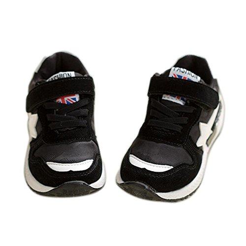 ALUK- Versión coreana de los zapatos de los muchachos Zapatos ocasionales Zapatos de los estudiantes de los niños Zapatos de los deportes ( Color : Negro , Tamaño : 28 ) Negro