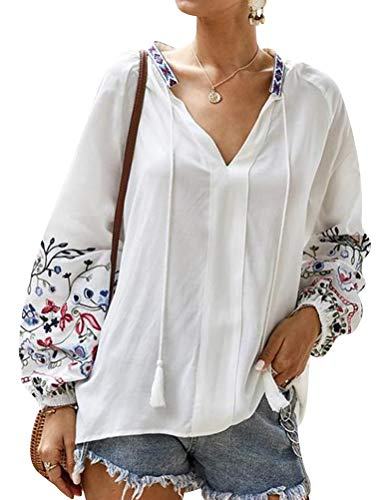 StarVnc Women Floral Printed Drawstring V Neck Long Sleeve Shirt Loose Casual Tops Beige
