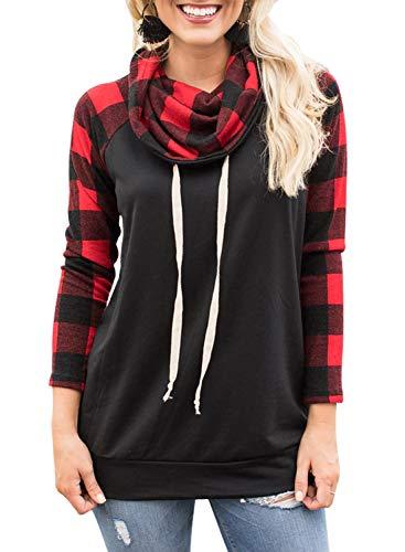 Dearlove Womens Long Sleeve Cowl Neck Plaid Sweatshirts Raglan Shirts