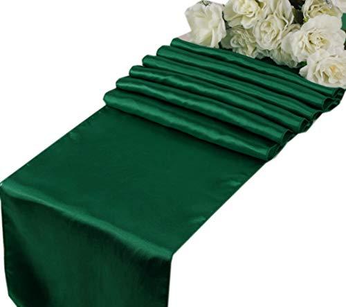 VDS - 10 PCS 12 x 108 inch Satin Table Runner for Wedding Banquet Décor Runners Charmeuse Silk Table Runner - Emerald Green