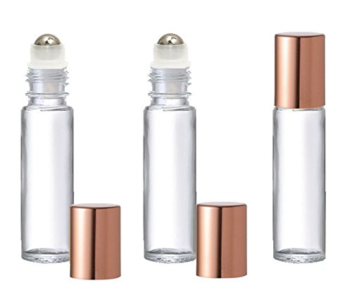 Grand Parfums Colored Glass Aromatherapy 10ml Rollon Bottles with Stainless Steel Roller and COPPER CAPS (12 Sets, Clear)