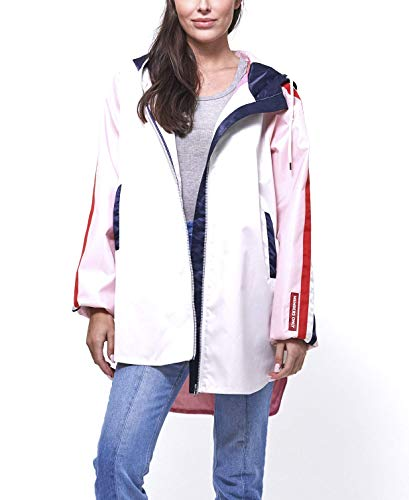 (Members Only Women's Long Satin Twill Jacket with Hood - WhiteS)
