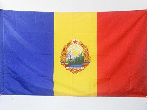 AZ FLAG Socialist Republic of Romania 1947-1989 Flag 3' x 5' for a Pole - Romanian People's Republic Flags 90 x 150 cm - Banner 3x5 ft with Hole