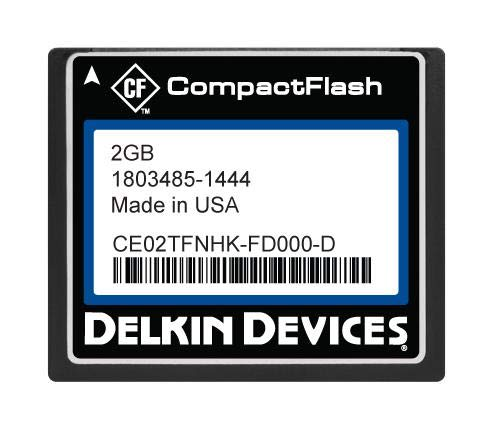 CE02TFNHK-FD000-D - Flash Memory Card, SLC, Compact Flash Card, Type I, 2 GB, C400 Series (CE02TFNHK-FD000-D) by DELKIN DEVICES