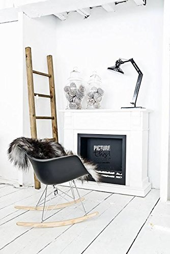 2xhome Black Mid Century Modern Molded Shell Designer Plastic Rocking Chair Chairs Armchair Arm Chair Patio Lounge Garden Nursery Living Room Rocker Replica Decor Furniture DSW Chrome