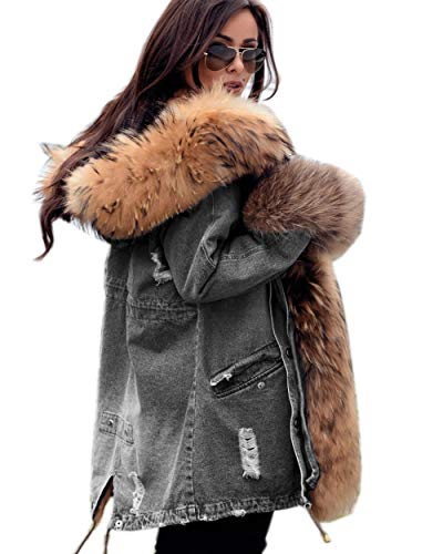 Roiii Plus Size Womens Military Hooded Warm Winter Coats Faux Fur Lined Parkas (X-Large, Grey) (Military Jacket Women Grey)