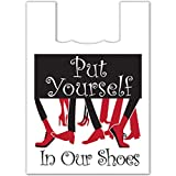 Plasticplace Super Strong Large Plastic Shopping Bags - White,''Put Yourself in Our Shoes'', 19x23, 500/Case