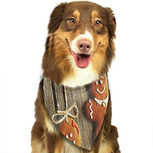 GYDHSN Christmas Homemade Gingerbread Couple Cookies Dog Bandanas Washable Triangle Adjustable Dog Scarf ()
