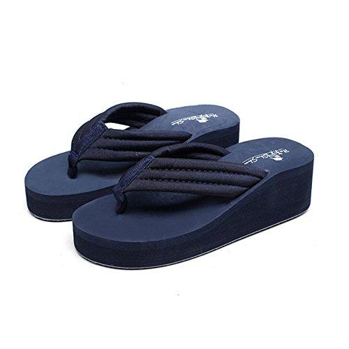 Flip Darkbluecloth Haut Talon Élégantes Plage de des Sandales Chaussures La Forme Coins Et de de Femmes Plate Forme de Chaussures Pantoufles Sandales Flops Mode La Et Plate Sport Pantoufles zqwpx11aZf