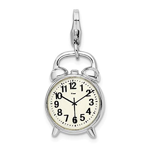 925 Sterling Silver Rh 3 D Alarm Clock Lobster Clasp Pendant Charm Necklace Household Fine Jewelry Gifts For Women For Her