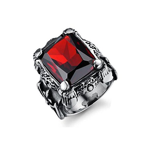 (FEDONA Vintage Large Crystal Stainless Steel Dragon Claw Cross Ring Band Gothic Biker Knight Silver Band Ring)