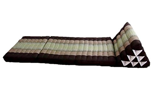 Foldout Triangle Thai Cushion Kapok Stuffing Three Fold Mattress Floor Lounge Mat 60 Inches (Daisy Cocoa) by Blue Orchid