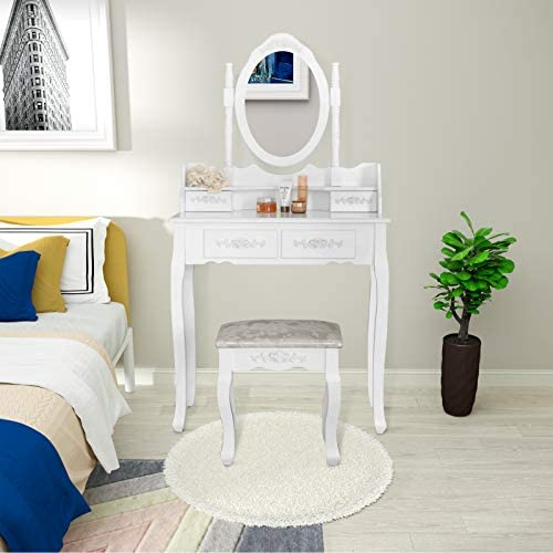 Mecor Vanity Table Set with 4 Drawer,Makeup Dressing Table w Cushioned Stool,Girls Women Bedroom Furniture Set Oval Mirror White