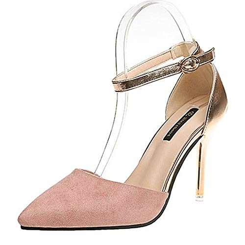 ZHZNVX Toe Shoes Green Stiletto Women's Khaki Pink Heels Ankle Black Polyurethane Summer Heel Strap PU Pointed PqPrw4