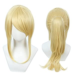 Linfairy Womens Blonde Wig Costume Cosplay Wig 50cm Ponytail