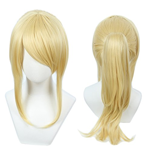 Linfairy Womens Blonde Wig Costume Cosplay Wig + 50cm Ponytail -