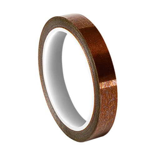 TapeCase 0.125-5-BA Series(PK-3) Amber Polyimide/Acrylic Tape with Acrylic Adhesive, 6800 Dielectric Strength, 1 mil, 5 yd. Length, 0.13 Width (Pack of 3)