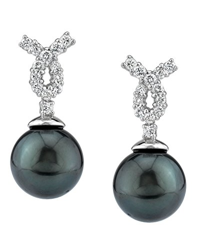 THE PEARL SOURCE 18K Gold 12-13mm Round Genuine Black Tahitian South Sea Cultured Pearl & Diamond Swirl Earrings Set for Women - Diamonds 13mm Tahitian Pearl Ring