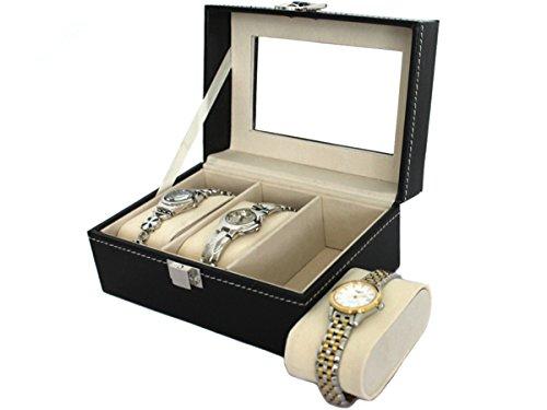Uhrenkasten Uhrenbox Schmuckkasten mit Glasdeckel Leder Look 3er -
