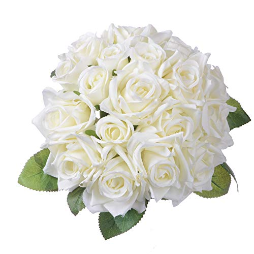 Artiflr Artificial Flowers Rose Bouquet 2 Pack Fake Flowers Silk Plastic Artificial White Roses 18 Heads Bridal Wedding Bouquet for Home Garden Party Wedding Decoration (White) (Silk Rose Bridal Bouquet)