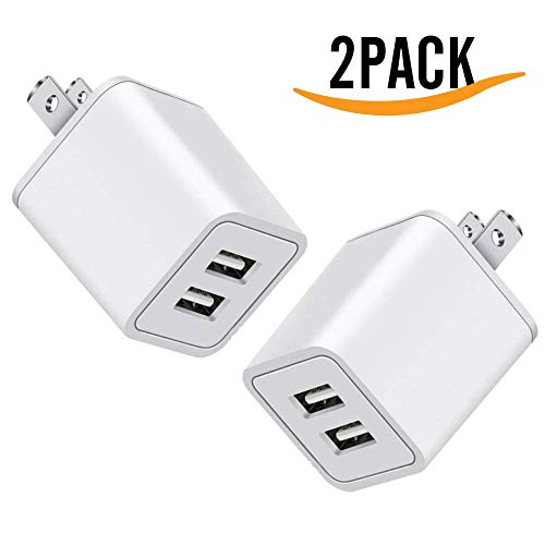 USB Charger, 5V Dual 2-Port 2.4 Amp Wall Charger USB Plug Charger Wall Plug Power Adapter Fast Charging Cube Compatible with Apple iPhone, iPad, Samsung Galaxy, Note, HTC, LG & More (White) 2-Pack