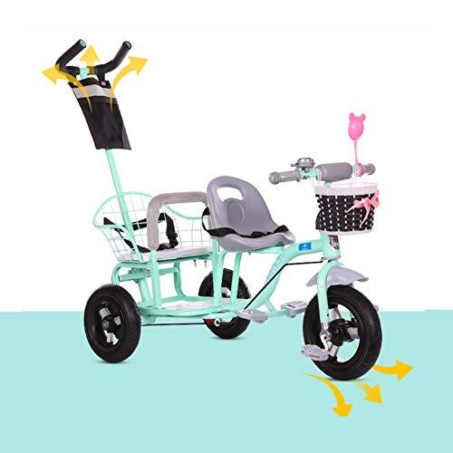 Triciclo de los niños, bicicleta doble de dos plazas de bicicleta tesoro gemelo bebé cochecito con sistema de seguridad y...