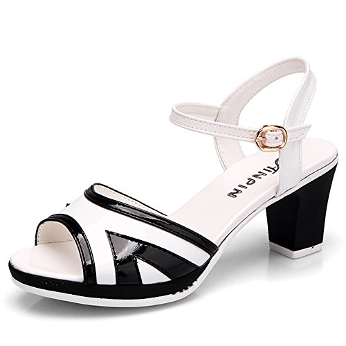 Blanc AGECC Coarse Fish Mouth High-Heeled Sandals Female Fashion Leather Waterproof chaussures Thirty-six