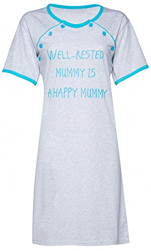 Happy Mama. Para mujer Camisón/bata premamá lactancia VENDEN POR SEPARADO. 474p Camisón - Cyan