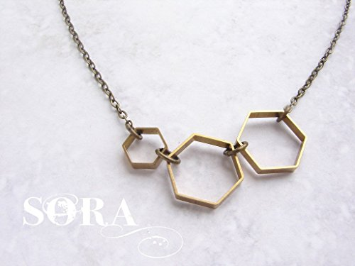 Vintage Honeycomb necklace - hexagon necklace, brass jewelry modern geometric necklace