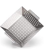 Blumtal grillmand van 100% roestvrij staal – bbq mand perfect voor gegrilde groenten, vis en zeevruchten, grillplaat geschikt voor alle soorten grillen, 21 x 21 x 6 cm (medium)