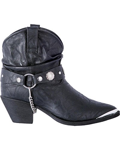 Dingo Femmes En Cuir Concho Sangle Slouch Bottines À Bout Pointu - Di8940 Noir