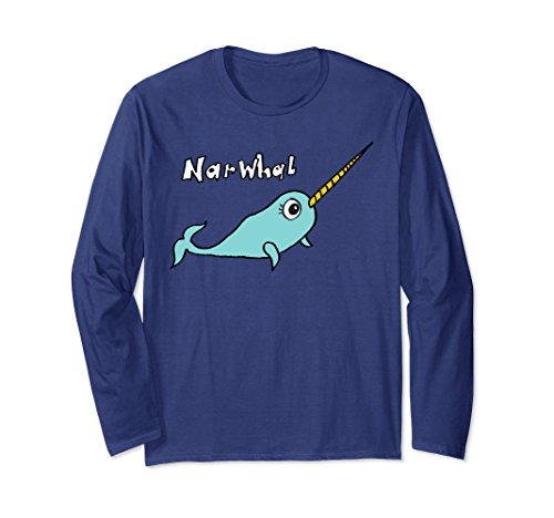 Freeman Apparel (Unisex Narwhal Long Sleeved T-Shirt by Kimberly Freeman Large Navy)