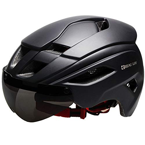 GIEADUN Bicycle Helmet Men and Women MTB Cycling Helmet cpsc Certification with Removable Lens resizable (All Black)