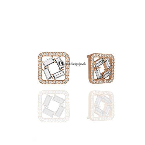 14k Solid Gold Studs Earrings, 14k Solid Gold White Topaz Baguettes Studs, 12MM Diamond Studs, Diamond Studs Earrings, Baguettes ()