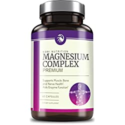 High Absorption Magnesium Complex - Premium Mag Supplement Formulated for Muscle Relaxation & Recovery - for Women & Men, Non-GMO, Pure, 60 Vegetable Capsules