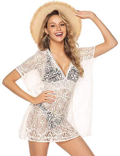 Abollria Women's Bathing Suit Cover up Crochet Lace Swimsuit Dress White