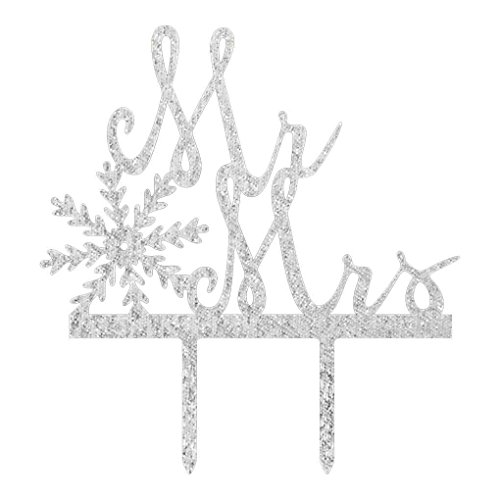 Omkuwl Mr Mrs with Snowflake Wedding Cake Insert Cake Topper Party Supplies Cake Card silver