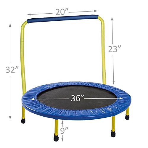 TRAMPOLINE FOR KIDS Portable 36 inc with Safety Padded Frame Cover and Handle Bar  - Yellow
