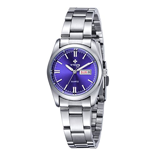 (Women Date Day Clock Female Stainless Steel Watch Ladies Fashion Casual Wrist Watches Blue)