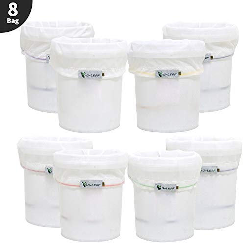 G-LEAF All Mesh Bubble Bags,5 Gallon 8 Bag Herbal Ice Bubble Hash Bag Essence Extractor Kit, Extraction Bags Filtration Bags Set with Pressing Screen and Carrying Bag