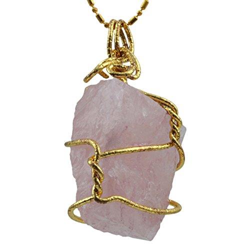 - SUNYIK Natural Rose Quartz Gold Wire Wrapped Pendant