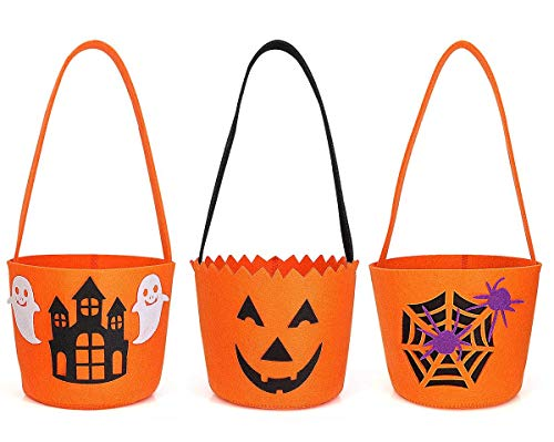 Hoople Sale Halloween Jack-O-Lantern, Ghost, Haunted House, Spider Web Trick Treat Candy Bags Basket Bucket Pail Kids Toddlers Baby Party Costume Decorations (3 Pack) ()