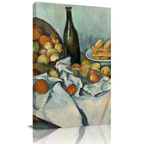 Canvas Print Wall Art European Painting Paul Cézanne-The Basket of Apples Stretched and Framed Modern Giclee Artwork for Office/Livingroom/Bedroom/Hallway 12x8in ()