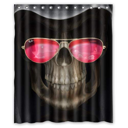 SPXUBZ Halloween Funny Grim Reaper with Cool Red Glass Shower Curtain Waterproof Bathroom Decor Polyester Fabric Curtain Sets with Hooks ()