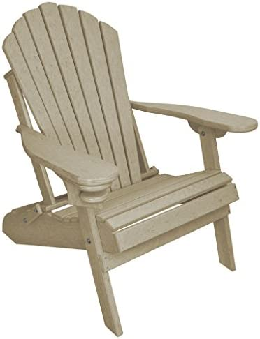 Outer Banks Deluxe Oversized Poly Lumber Folding Adirondack Chair Birchwood