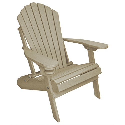 ECCB Outdoor Outer Banks Deluxe Oversized Poly Lumber Folding Adirondack Chair (Birchwood) ()