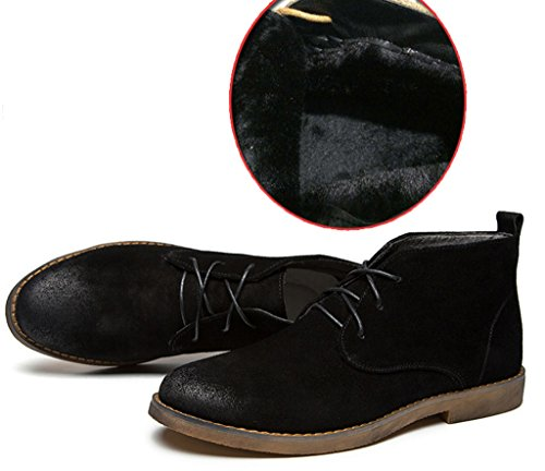 Santimon Mens Snow Boots Chukka Leather Desert Boots Stylish Lace Up Suede Outdoor Ankle Round Toe Retro Causal Black hDI55cQQp