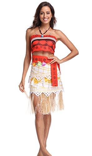 Adult Polynesian Costumes Skirt (MASELEY Polynesia princess Halloween Cosplay Costume Skirt Set For Women Girls,women S)