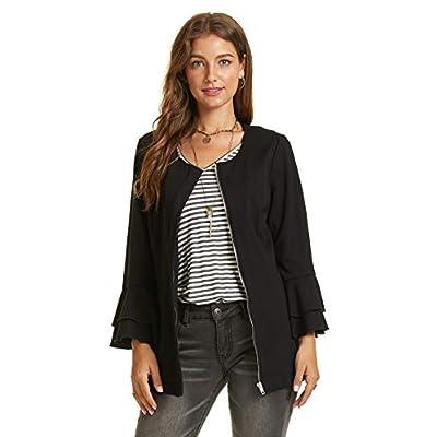 SONJA BETRO Women's Knit Zip Front Ruffle Sleeve Jacket Plus Size: Clothing
