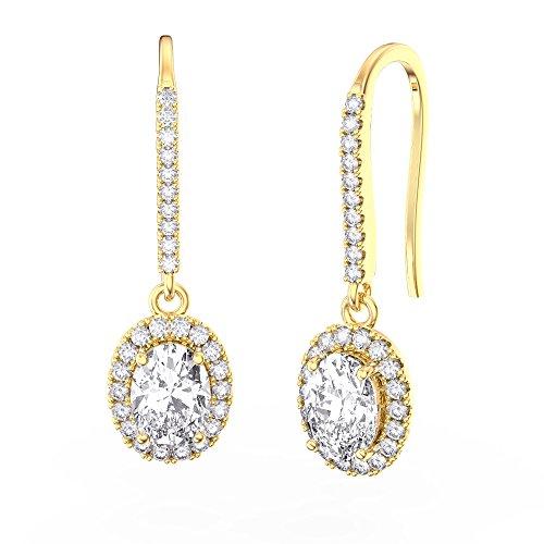 Eternity Argent Sterling Diamant Boucles d'oreilles Ovale (or jaune)